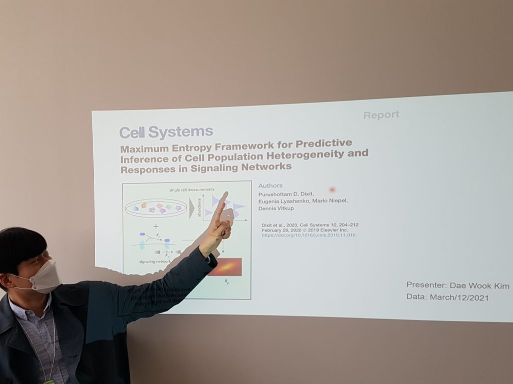 Dae Wook Kim gave a talk on Maximum Entropy Framework for Predictive Inference of Cell Population Heterogeneity and Responses in Signaling Networks at the Journal Club