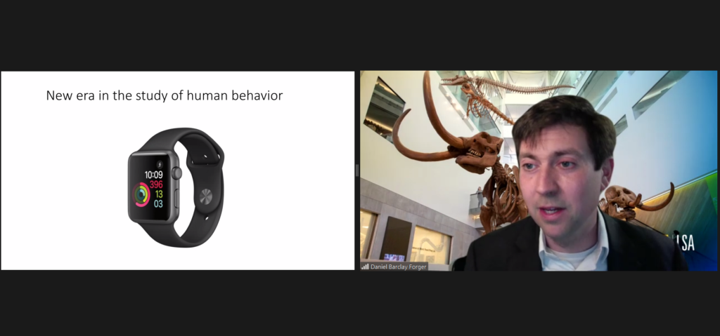 "Daniel Forger gave an online talk titled ""The mathematics of the wearables with applications to circadian rhythms and sleep"" at the IBS Biomedical Mathematics Colloquium"