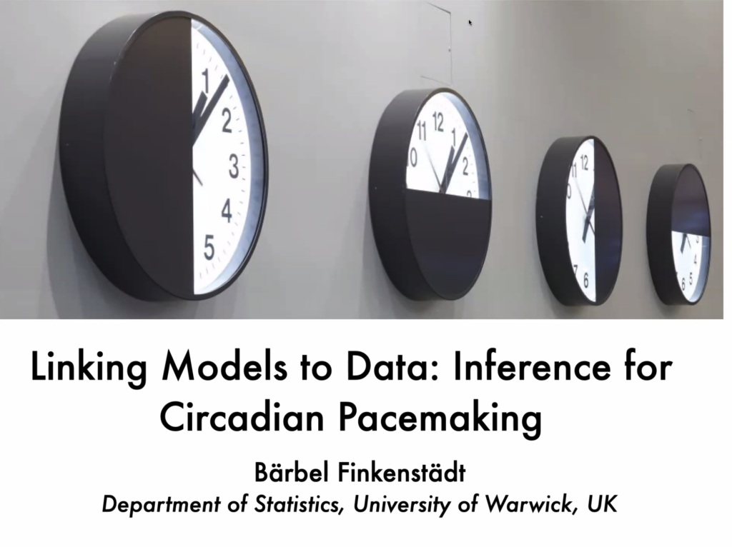 """Bärbel Finkenstädt Rand gave an online talk titled """"Inference for Circadian Pacemaking"""" at the IBS Biomedical Mathematics Colloquium"""