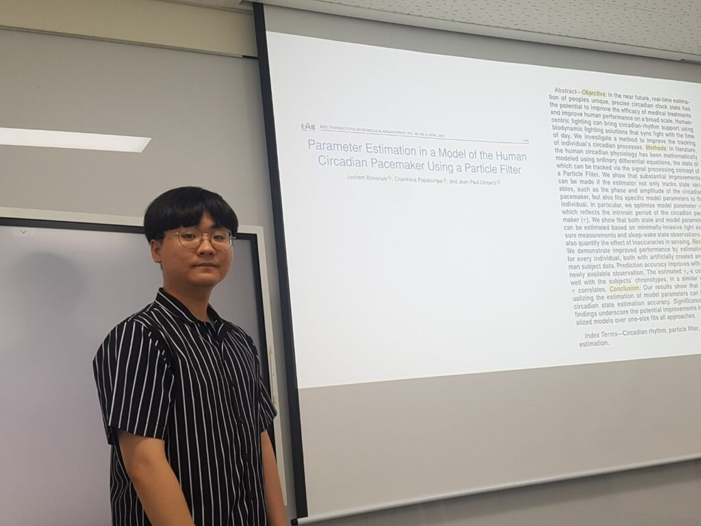 """Yun Min Song gave a talk on """"Parameter Estimation in a Model of the Human Circadian Pacemaker Using a Particle Filter"""" at the Journal Club"""