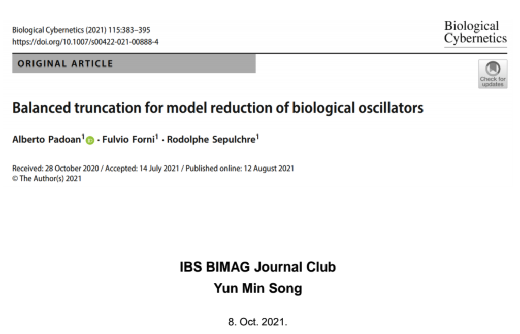 """Yun Min Song gave a talk on """"Balanced truncation for model reduction of biological oscillators"""" at the Journal Club"""