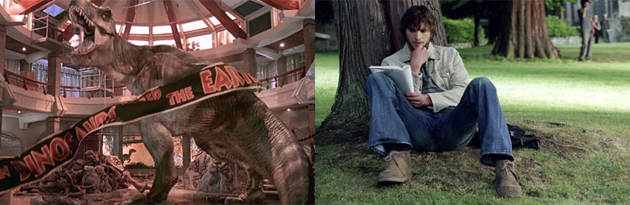 1993년作 영화 <쥬라기 공원>과 2004년作 <나비효과>는 모두 혼돈 이론에 기반을 두고 있다. (출처: 유니버설 픽처스, 쇼박스)