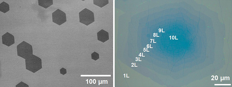 Graphene sheets grown on top of single crystal copper foil.