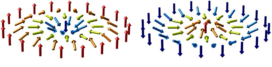 Figure 1: Graphical representation of magnetic skyrmions. While ferromagnets have their spins (magnetic moments, represented as arrows) aligned uniformly in a parallel fashion, magnetic skyrmions are formed by spins arranged in a whirl shape.