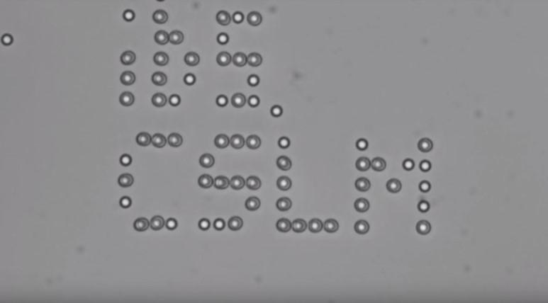 IBS 첨단연성물질 연구단이 홀로그래픽 광학집게를 이용해 만든 'ibs.CSLM'문구. 문구에 나타난 점들은 2마이크로미터 크기의 폴리스티렌 입자다. (사진 : IBS 유튜브 캡처)