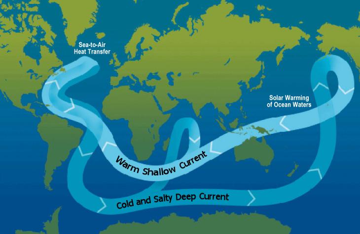 2000년대에 들어서는 북극 증폭이 '원거리 메커니즘'에 의해 발생하는 것으로 여겨졌다. 원거리 메커니즘은 온실가스로 인해 따뜻해진 열대‧중위도 지역의 해수가 북극해까지 유입되며 북극 근처의 해빙을 녹인다는 모델이다. (출처: wikimedia)