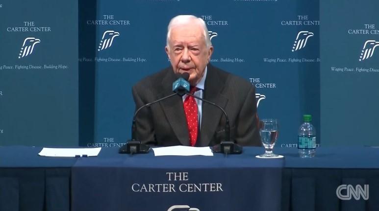 지미 카터 미국 전 대통령의 피부암 투병 시절 기자회견 현장 모습. (사진 : CNN Youtube)