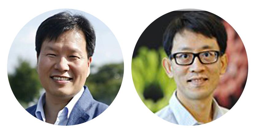 이번 연구를 이끈 허원도 교수(왼쪽)는 권형배 박사(오른쪽)와 함께 공동연구를 통해 쥐의 운동행동에 따른 운동피질 영역에서의 신경세포 활성화와 관련된 Ras small GTPase 단백질의 활성을 수 나노미터 단위의 가지돌기 구조에서 분석하는데 성공했다.