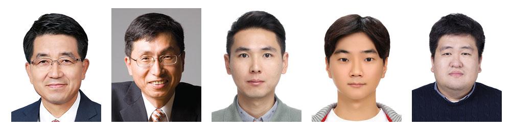 (왼쪽부터) IBS 나노입자 연구단 현택환 단장, 성영은 부연구단장, 이수홍‧김지헌‧정동영 연구원