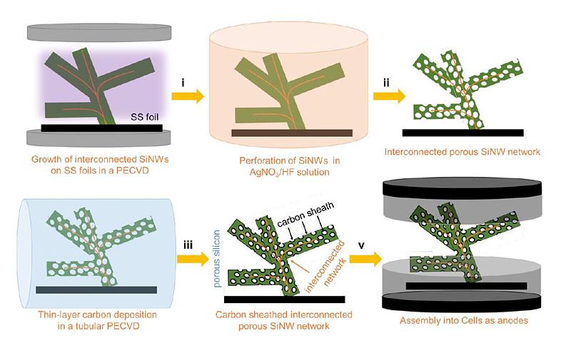 산호 모양의 실리콘-탄소 복합체 일체형 전극 제조과정. (출처: ACS Nano)