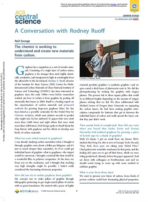 ACS interview article with Director Ruoff (Credit: ACS Central Science)