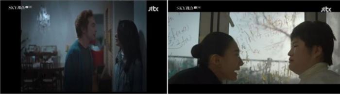 대학동기에 대한 질투에 눈이 먼 김주영 선생은 딸인 케이를 결국 파멸로 이끈다. (출처 : JTBC 'SKY캐슬' 화면캡처)