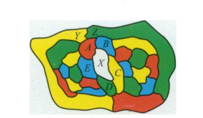 히우드가 든 반례. 4색으로 칠할 수 있는 지도이지만, 위와 같이 칠하면 마치 5색이 필요한 지도로 보인다. 출처: Percy Heawood