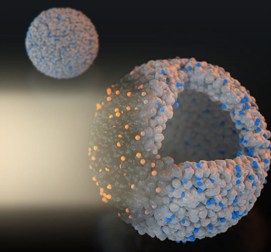 Figure 1: 3D image of TiO2 ball covered single copper atoms. It was crucial for this study to design site-specific single atom catalysts, since this single-atom structure directly mimics the structure of enzymes (made of single metal atoms and surrounding proteins).