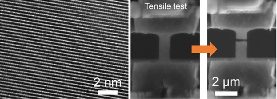 그래핀 층이 적층된 모습을 보여주는 투과전자현미경(TEM) 이미지(왼쪽).