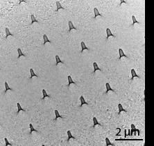 3차원 멤브레인 반도체의 전자현미경 이미지.
