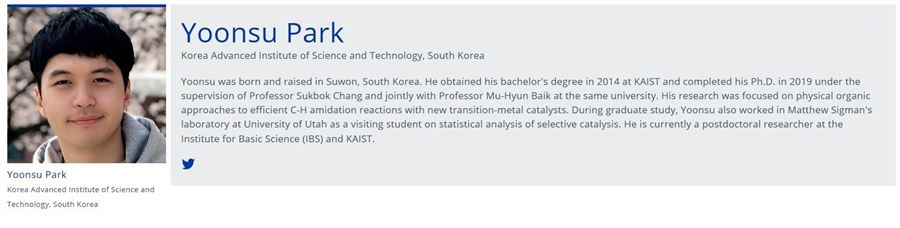 Dr. Park's profile at the 2019 CAS Future Leaders webpage (Credit: CAS Future Leaders)