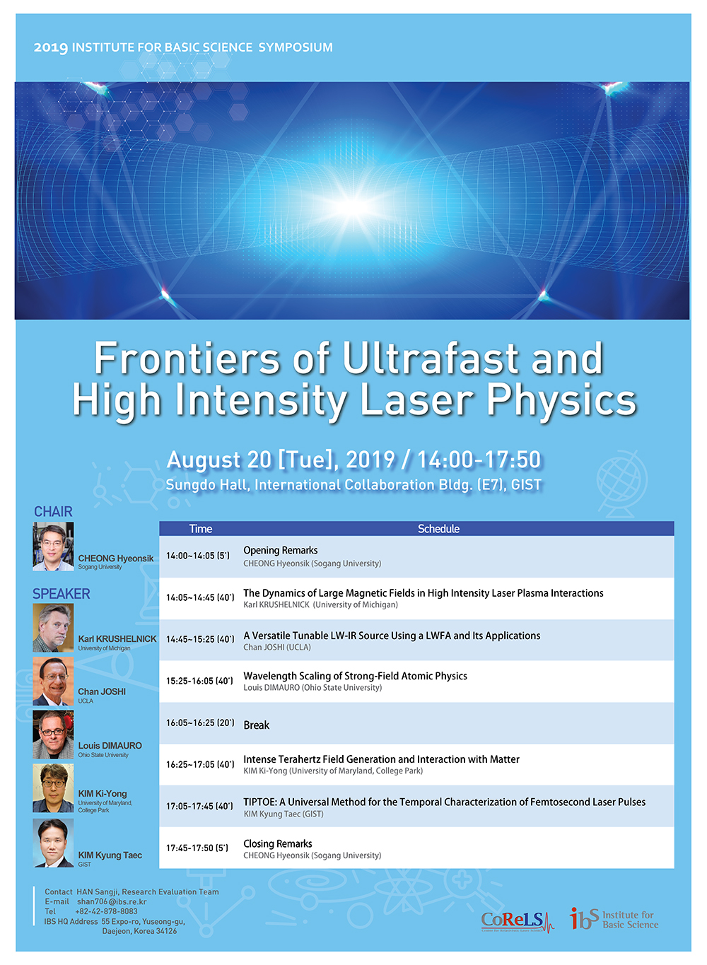 2019 IBS Symposium_Frontiers of Ultrafast and High Intensity Laser Physics
