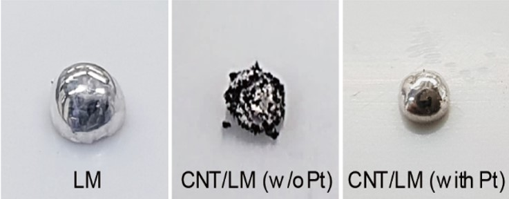 Figure 1-2 Photographs of liquid metal (left), liquid metal with carbon nanotubes without platinum (Pt) (middle), stretchable metal composite with Pt decoration on the surface of carbon nanotubes (right). Platinum (Pt) enables the uniform dispersion of carbon nanotubes in liquid metal matrix.