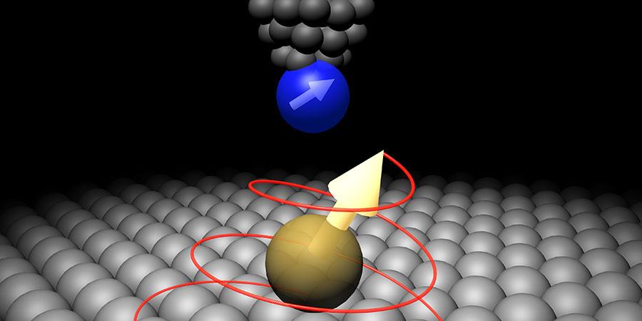 주사터널링현미경(STM)으로 원자를 제어하는 실험의 모식도(출처: IBM Research)