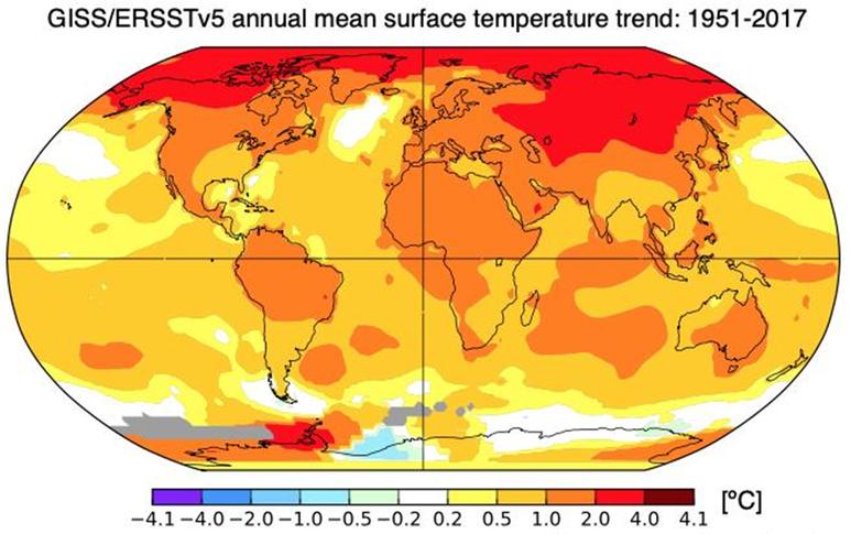 지난 67년간 연평균 지표온도 상승 추세. 시베리아, 캐나다, 알래스카 등 북극해 주변 지역의 온난화가 유독 강하게 나타난 것을 알 수 있다. (IBS 기후물리 연구단 제공)