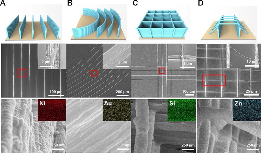 Figure 2: Various 3D printed 40-layer high nanoarchitectures coated with different functional materials. (A) Straight nickel nanowalls. (B) Curved gold nanowalls. (C) Silica grid pattern. (D) Zinc oxide nanobridges suspended between nanowalls.