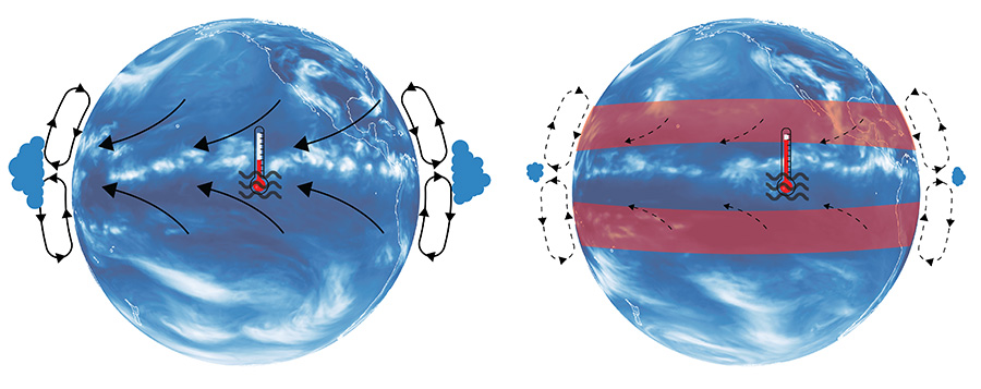Illustration of atmospheric Hadley cell under present-day conditions (left). Subtropical warming leads to a weakening of the Hadley cell (right), less clouds in most of the tropics, a reduction in the upwelling of cold ocean water, and a resulting increase in tropical temperatures. This process explains the accelerated tropical warming found in climate models in response to increase greenhouse gas emissions. (Credit: Elke Zeller)