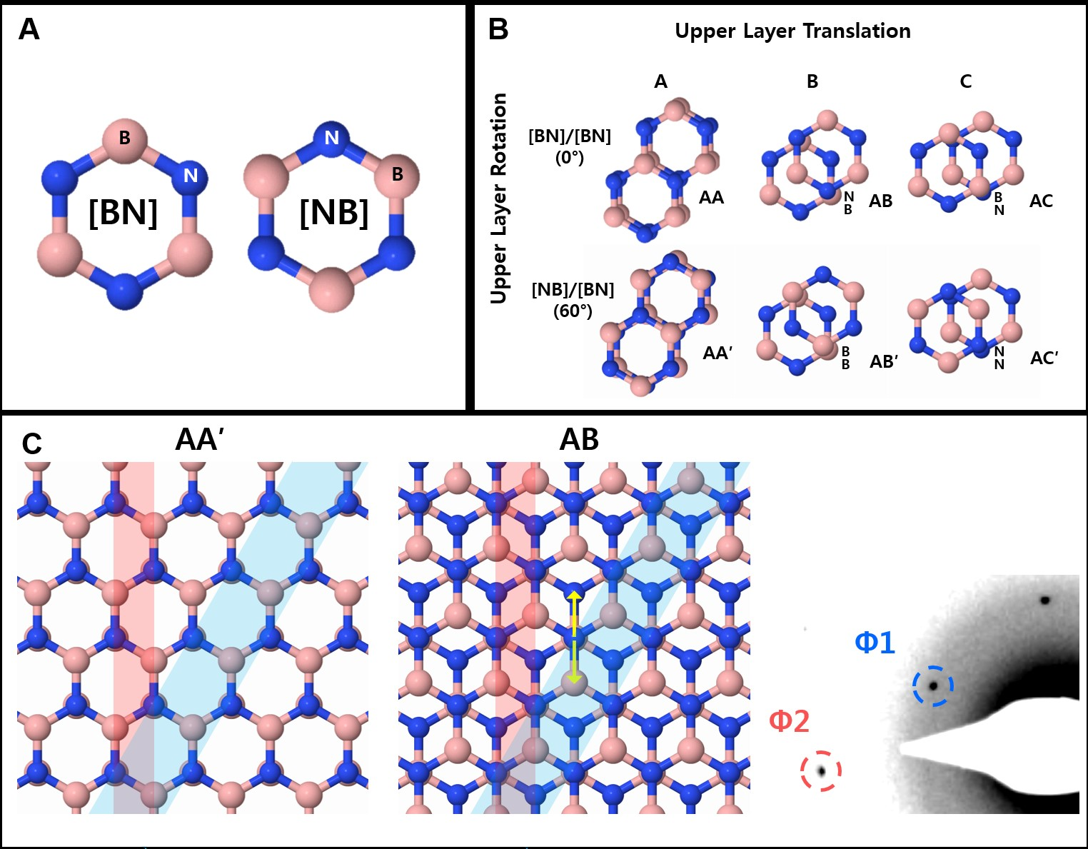 Figure 1: A layer of hexagonal boron nitride has the shape of a chicken wire, and is formed by the alternation of boron (B, pink) and nitrogen (N, blue). Depending on how the layers are piled up together, the material assumes different arrangements: AA, AB, AC, AA′, AB′, and AC′. The team achieved and studied a AA′/AB stacking boundary for the first time.