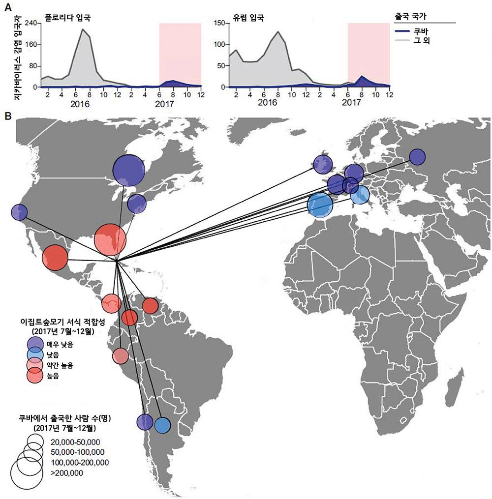 블루닷은 항공으로 미국 플로리다와 유럽에 입국한 지카바이러스 감염자의 출발지를 분석했다(A). 2017년 6월~12월 감염 입국자의 98% 이상이 쿠바에서 출국했다는 점을 토대로 해당 기간 쿠바에 대규모 발병이 있었을 것으로 추정했다. 또한 지카 바이러스 매개체인 이집트숲모기가 서식하기 적합하며, 쿠바에서 입국한 사람이 2만 명이 넘는 국가들을 선별해 지카바이러스 추가 발병 위험이 있다고 경고했다(B). [5]