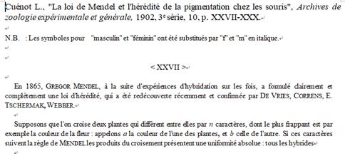 """1902년에 Archives de zoologie expérimentale et générale에 """"멘델의 법칙과 생쥐의 색소 유전""""이라는 제목으로 발표된 뤼시앵 큐놋의 논문."""