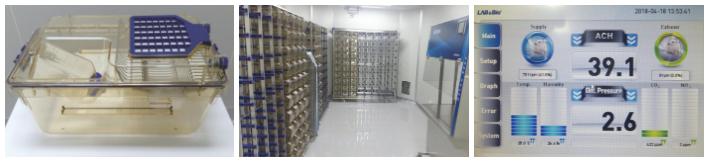 기초과학연구원 동물 사육 환경: 차례로 SPF 사육실 내부 IVC 시스템/온도, 습도, 환기횟수 모니터링 관리/개별 환기 케이지