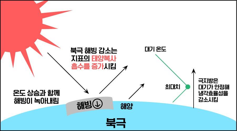 지역적 메커니즘에 의한 북극 증폭 과정을 나타내는 모식도. (출처: IBS)