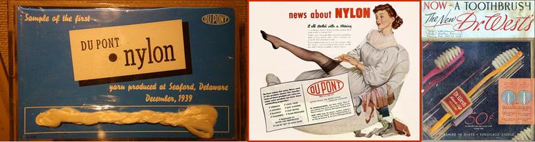 최초로 생산된 나일론과 당시 나일론 스타킹 및 칫솔 광고. [출처: 위키미디어, 와이어드]