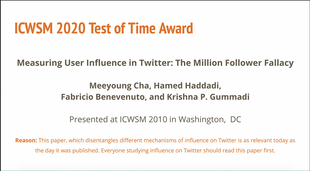 ICWSM 2020 Test of Time Award