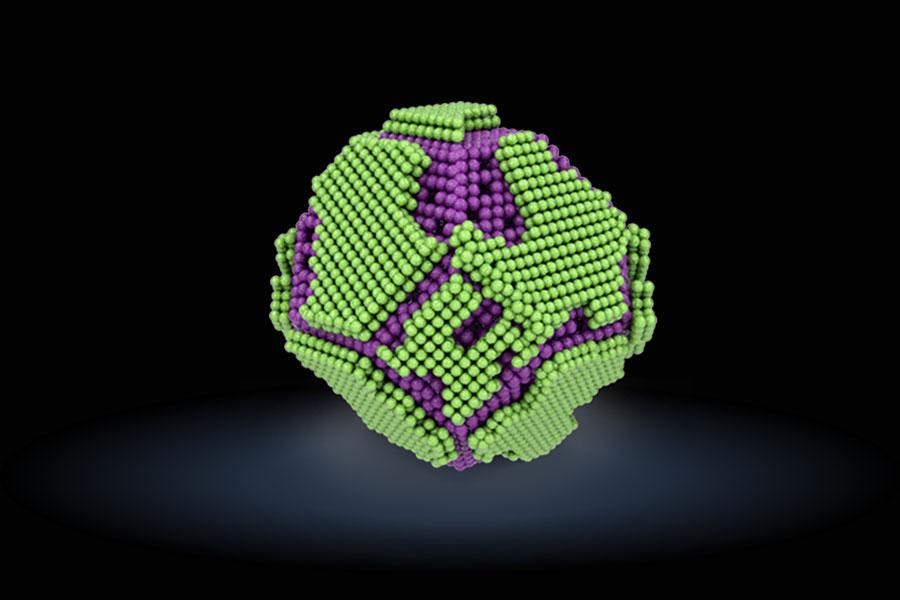 연구진이 개발한 방사선 보호 나노입자의 모습. 활성산소 제거 성능이 있는 세륨산화물(보라색) 나노입자 위에 망간산화물(초록색) 나노입자를 형성시켜 합성했다.