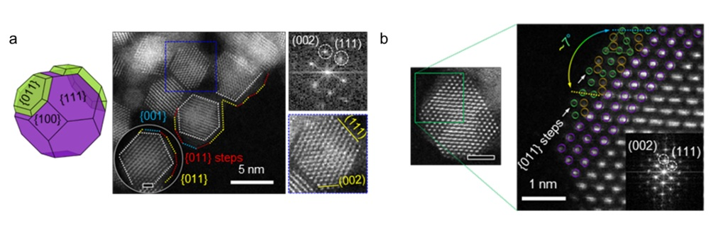 Figure 2. a) 3D illustration (left), TEM and STEM images (middle and top right), and the corresponding FFT pattern (bottom right) of CeO2/Mn3O4 nanocrystals. b) Atomic resolution STEM images of CeO2/Mn3O4 nanocrystals.