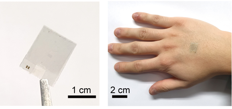 (좌)투명한 스마트 온열 패치, (우)패치를 손등에 부착한 모습