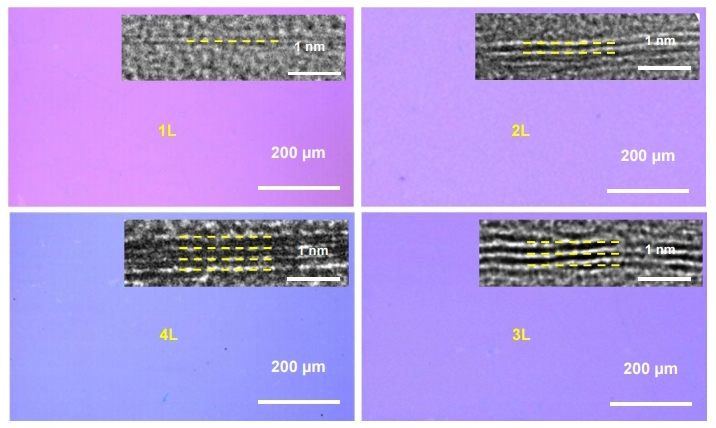Figure 2. Optical micrographs of mono-, bi-, tri-, and tetralayer graphene on the SiO2/Si substrate. The insets of show cross-sectional TEM images of the corresponding graphene films.