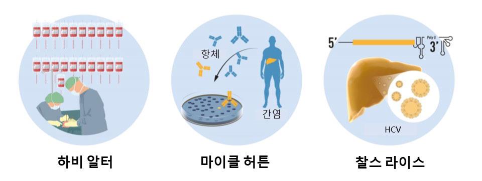 그림 2. 020년 노벨생리의학상 업적 요약. 하비 알터는 수혈과 연관된 간염을 체계적으로 연구하여 '미지의 바이러스'가 만성간염의 원인임을 증명하였다. 마이클 허튼은 검증되지 않았던 기법을 이용하여 새로운 바이러스의 유전체를 동정하고, 이를 C형간염 바이러스라 이름 붙였다. 찰스 라이스는 C형간염 바이러스만으로도 침팬지에서 간염을 유발할 수 있음을 입증하였다. 출처: 노벨 재단