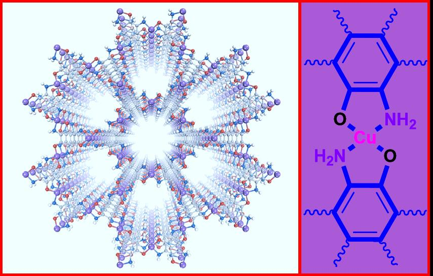 Figure 1: The structure of the Cu3(TABTO)2-MOF (carbon, nitrogen, oxygen, hydrogen, and copper atoms are gray, blue, red, white, and purple, respectively).