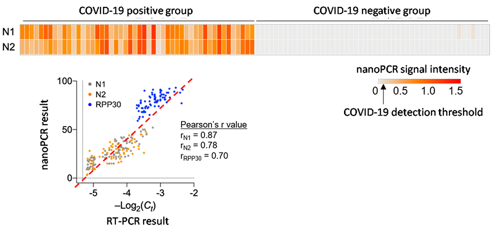 Figure 3. Comparison of nanoPCR's COVID-19 diagnostic performance and standard technology through the clinical specimen test