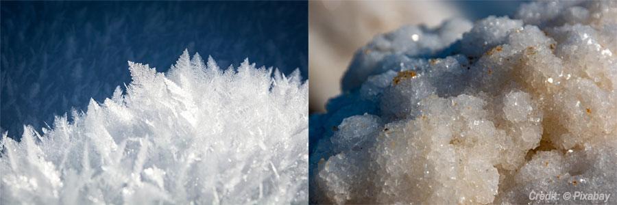 하늘의 눈과 바다의 소금은 '핵생성'이라는 과정을 거쳐 만들어진다. 이처럼 핵생성은 물질이 생성되는 출발점이다. (출처: Pixabay)