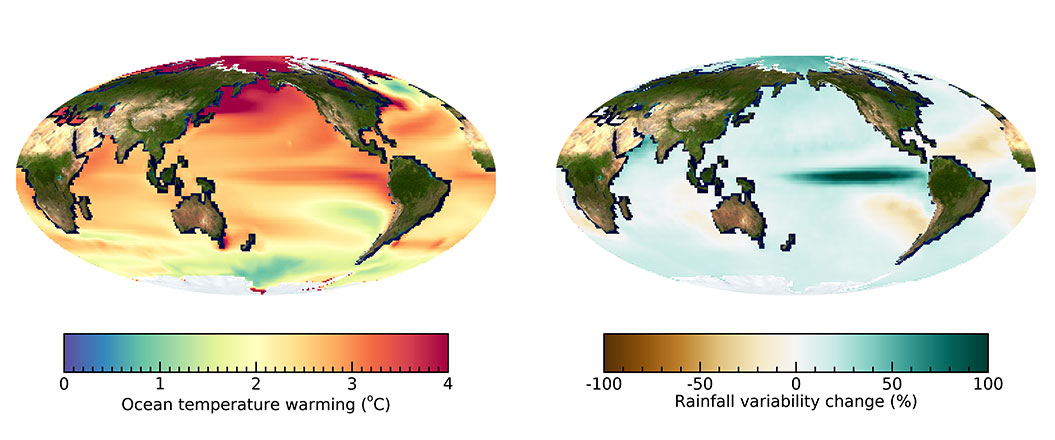 Global ocean warming pattern and change in year-to-year rainfall variability. (Left)