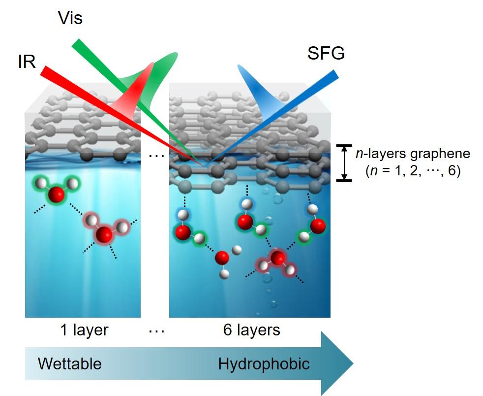합-주파수 생성 분광법을 이용하여 얻은 그래핀-물 계면에서 물 분자의 수소결합 구조. 그래핀을 4겹 이상 쌓으면 소수성 계면의 특징이 나타나는 것으로 확인됐다.