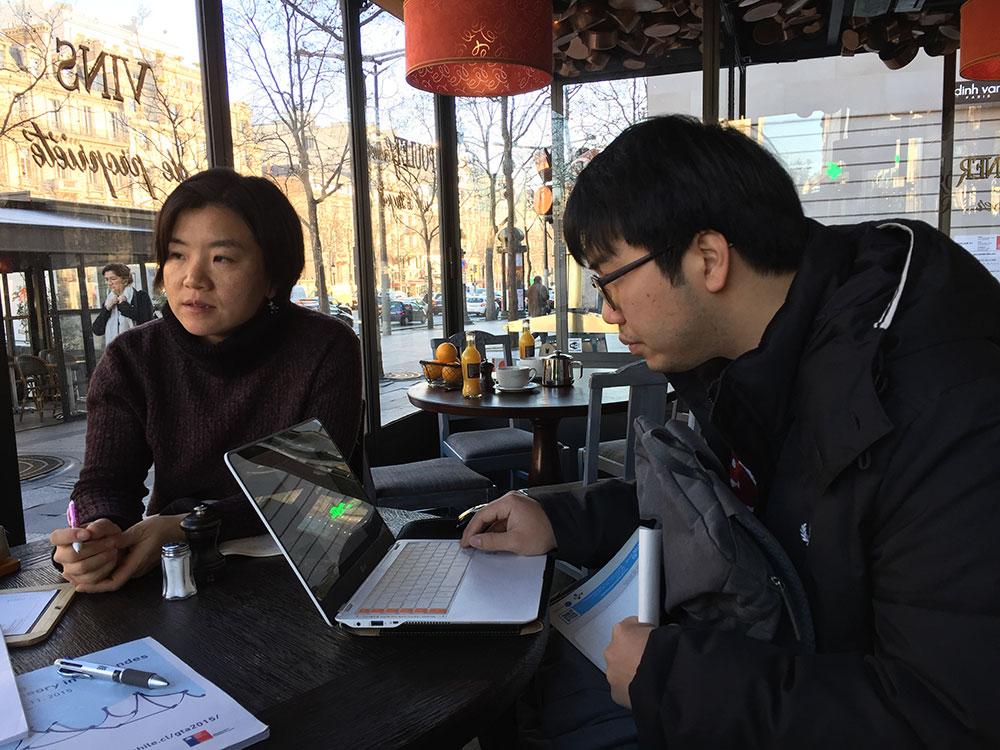2016년 1월 프랑스 파리에서 함께 연구 중인 김은정 박사와 정지수 박사