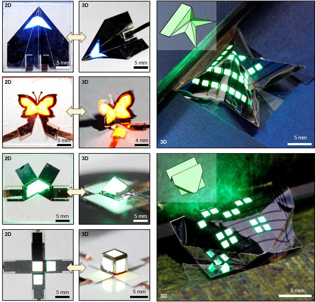 이산화탄소 레이저를 활용하여 초박형 QLED 표면의 에폭시 박막을 부분적으로 식각하면, 상대적인 두께차이로 인해 마치 종이접기의 접는 선처럼 레이저로 식각한 선을 따라 초박형 QLED를 접을 수 있게 된다. 본 기술을 사용하여 비행기, 나비, 피라미드 등의 복잡한 모양을 가진 3차원 폴더블 QLED를 제작하였다. 3차원 폴더블 QLED는 2차원과 3차원 구조 간 변형이 자유로워 사용자가 원하는 형태로 자유자재로 접을 수 있다.