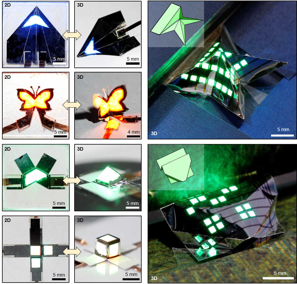 The ultra-thin QLED can be sharply folded along the laser-etched line, just like the origami paper artwork. A three-dimensional foldable QLED with various user-customized shapes such as airplanes, butterflies, and pyramids was fabricated. The 3D foldable QLED can freely transform between 2D and 3D structures, which allows for a dynamic display of visual information.